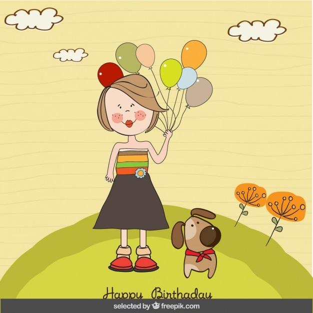 風船や犬のバースデーカードを持つ少女