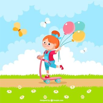 Girl with balloons cartoon Premium Vector