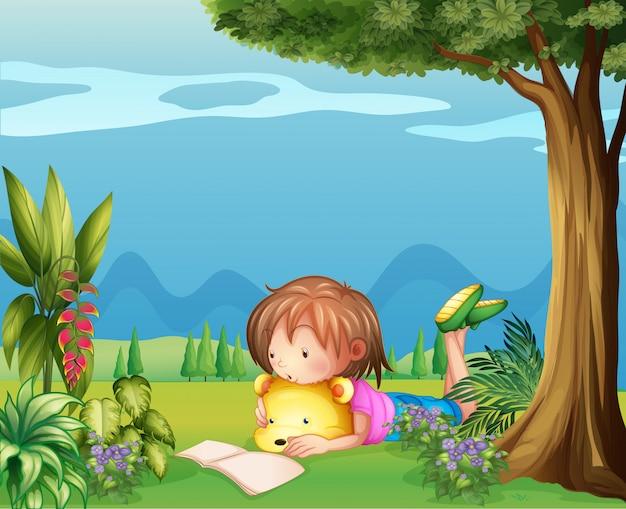 A girl with a bear reading a book