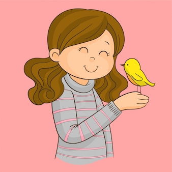 Girl with a bird on her hand