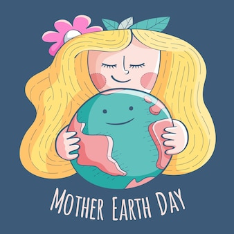 Girl with blonde hair mother earth day