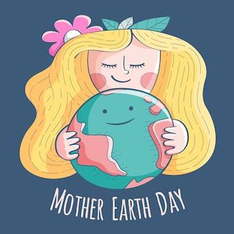 ブロンドの髪の母地球の日を持つ少女