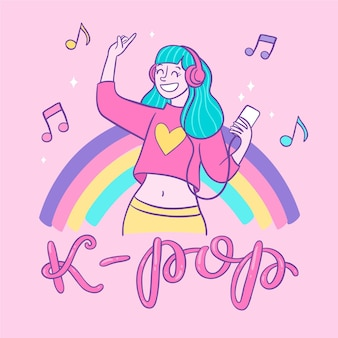 Girl with blue hair listening to k-pop music
