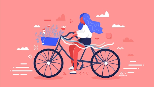 Girl with blue hair riding bicycle with flower and leaves bouquet in front basket