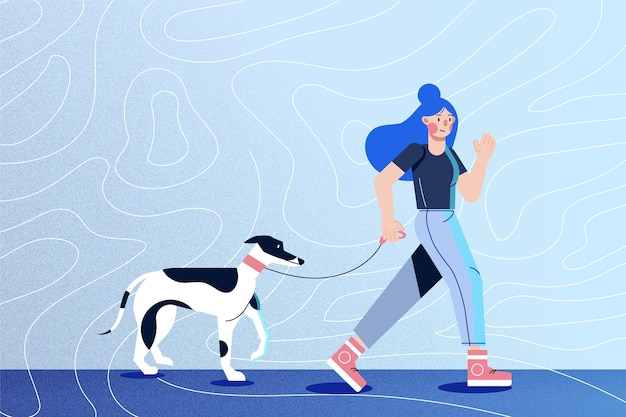 Girl with blue hair waking her dog