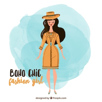 Girl with boho style clothes