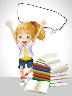 本と吹き出しを持つ少女