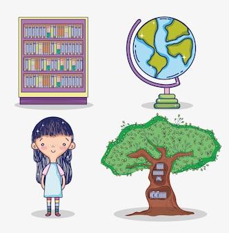 Girl with books cute cartoons