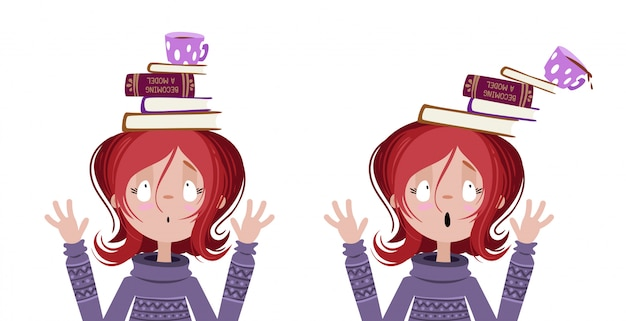Girl with books on her head.