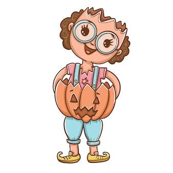 Girl with broken head holding pumpkin