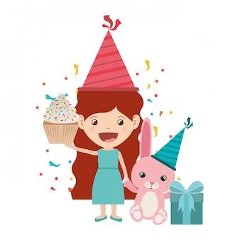 Girl with bunny in birthday celebration