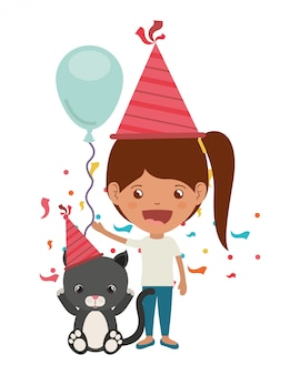 Girl with cat in birthday celebration
