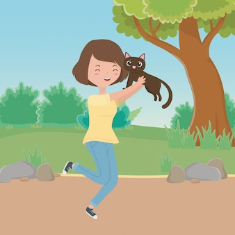 Girl with cat cartoon
