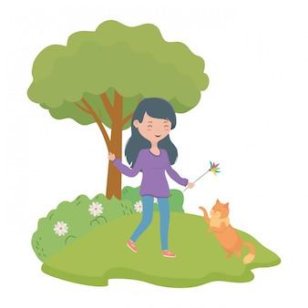 Girl with cat cartoon