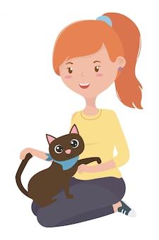 Girl with cat of cartoon
