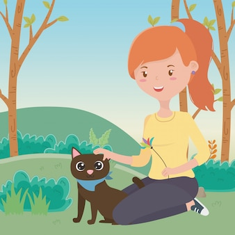 Girl with cat of cartoon
