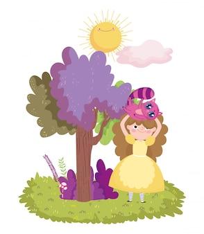 Девушка с кошкой в голове дерево листвы солнце облако в стране чудес