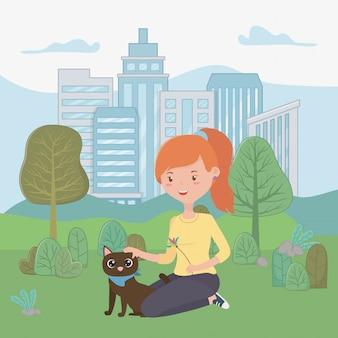 Девушка с котом мультфильма