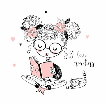 Girl with a cat reading a book. i like to read. lettering