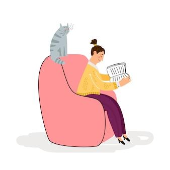 Девушка с кошкой читает книжную иллюстрацию