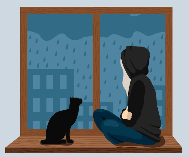 A girl with a cat sits on the windowsill and looks at the rain outside the window the girl is sad