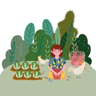 Девушка с куриными растениями, плантация лимонной капусты и иллюстрация помидоров