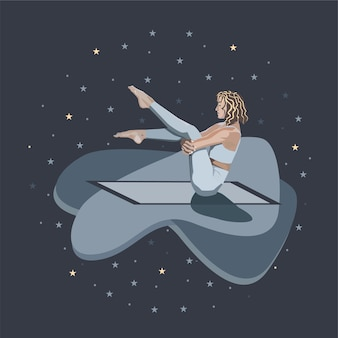 A girl with closed eyes practices yoga on a rug against the background of the night sky with stars