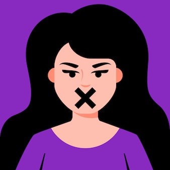 Girl with closed mouth censorship for women