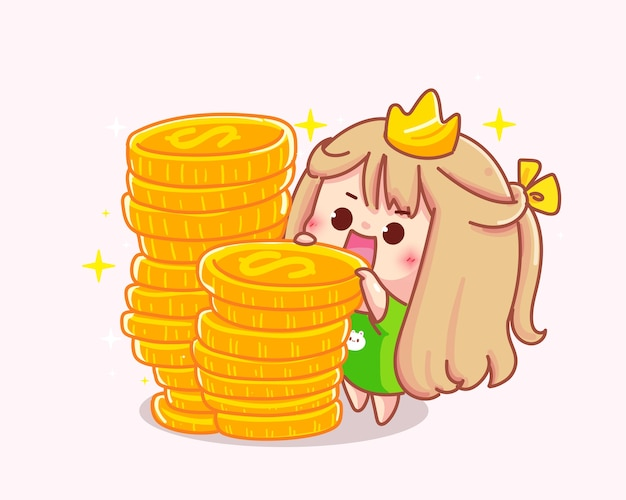 Girl with coins cartoon  illustration