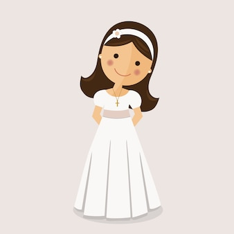 Girl with communion dress on ocher background