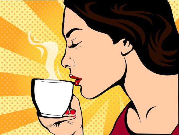 Girl with cup of coffee pop art retro style