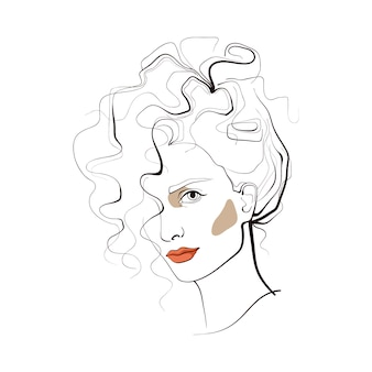 Girl with curly hair. abstract face. fashion illustration.