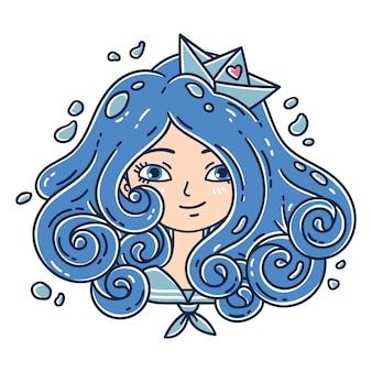 Девушка с вьющимися волосами. морская девушка.