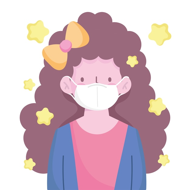 巻き毛の長い髪と医療マスクのキャラクター漫画の新しい通常の女の子