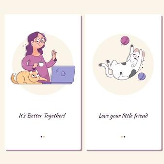 かわいい猫と自宅のラップトップを持つ少女