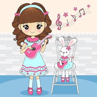 Girl with cute rabbit playing ukulele