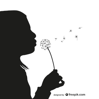 Girl with dandelion silhouette