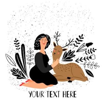 Girl with deer animal