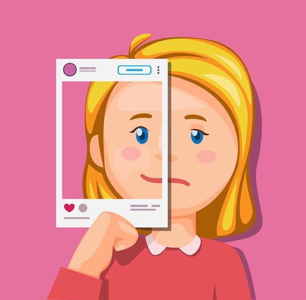 Девушка с разными эмоциями на концепции иллюстрации социальных сетей в мультфильме