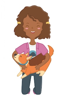 Girl with dog cartoon design