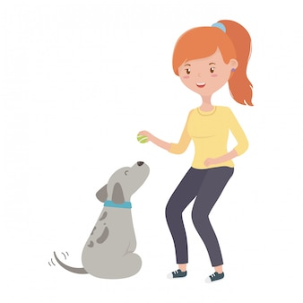 Girl with dog cartoon