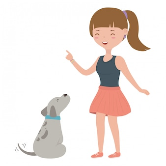 Girl with dog cartoon