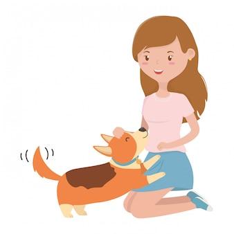 Girl with dog of cartoon