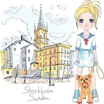 ストックホルムで犬を持つ少女
