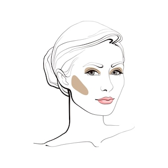 Girl with elegant hairstyle. abstract face. fashion illustration.