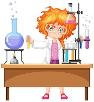 Girl with experiment items
