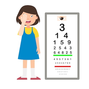 Girl with eye chart test diagnostic vector illustration