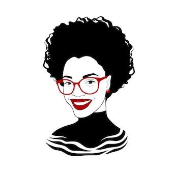 Девушка в модных очках. причудливая женщина Premium векторы