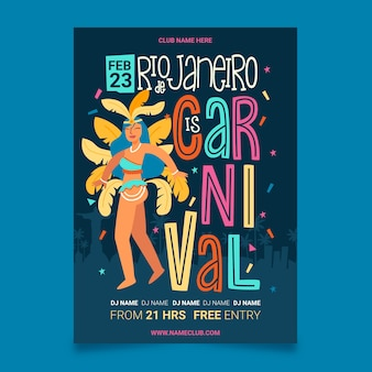 Girl with feathers hand drawn brazilian carnival party poster