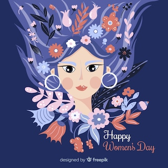 Girl with floral hair women's day background
